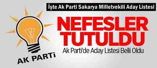 Ak Parti Sakarya Milletvekili Listesi Açıklandı