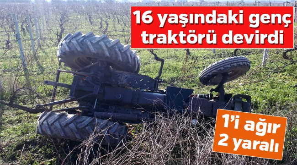 Pamukova'da Traktör Devrildi.2 Genç yaralandı